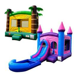 Pogo Premium Inflatable Tropical Bounce House And Pink Water Slide Combo And Blowers