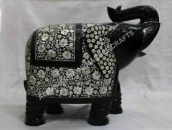 16 Black Marble Elephant Statue Mother Of Pearl Inlay Precious Stone Gift E1325