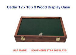 Cedar Wood Display Case 12 X 18 X 3 For Arrowheads Knifes Collectibles And More