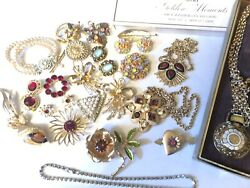 200 + pc Vintage mixed Jewelry Lot - Some Signed Rhinestone Sterling Gold Filled
