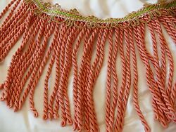 10y Scalamandre Lyric Buillion Fringe 100 Silk Coral And Lime Msrp285/y