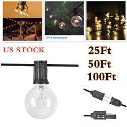 25FT 50FT 100FT G40 Globe String Lights Clear Bulbs Patio Hanging Party Fairy US