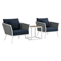Stance 3 Piece Outdoor Patio Aluminum Sectional Sofa Set - White Navy