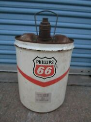 Vintage Phillips 66 Oil Can Gas 5 Gallon Motor