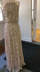 Size 8 Designer Adrianna Papell Shell Bridesmaid Evening Gown Formal Dress