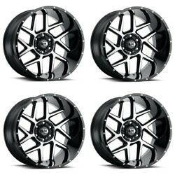 Set 4 24 Vision Sliver 360 Black Machined Face Wheels 24x12 8x6.5 -51mm Lifted