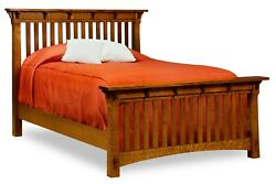 Amish Arts And Crafts Mission Slat Bed Solid Wood Exposed Tenons King Queen