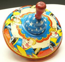 The Ohio Art Co Usa Vintage Toy Metal Spinning Top Children Airplanes Stars Fun