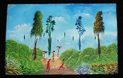 1980and039s Haitian Acrylic Mini Painting Blue Jungle Rd By Illegible Signed Stea