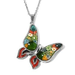 Steel Glass Butterfly Pendant Necklace Jewelry Gift for Women Size 20