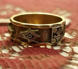Masonic vintage Powerful 14kt gold ring 1940's mint condition   sz 11