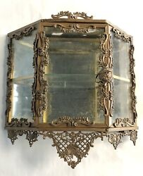 Hollywood Regency Gilt Brass And Glass Rococo Revival Wall Enclosed Display Case