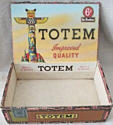 Totem Pole Cigar Box With Colorful Labels Excellent Condition