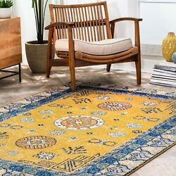 nuLOOM Transitional Vintage Border Motif Area Rug in Yellow