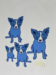 George Rodrigue Blue Dog Dogs In Space Silkscreen Print Signed Numbered Art
