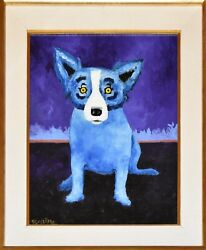 George Rodrigue Blue Dog Original Oil On Linen 1991 One Of A Kind Rare Painting