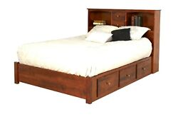 Amish Bookcase Platform Bed Low Under Storage Drawers Solid Wood King Queen