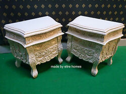 2 X Rococo Bedside Tables .... Nightstands .. Antique Off White /cream / Ivory