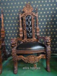 Lion King Throne Chair Antique Mahogany / Dark Wood Tone With Faux Leather