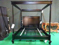 Super King Size Gothic Black Four Poster Contemporary Mahogany Canopy Bed Lombok