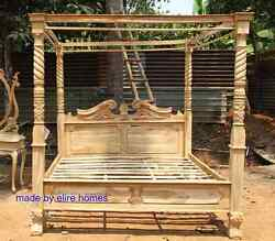 Teak Wood Super King Size 6and039 Rustic Finish Four Poster Canopy Designer Bed