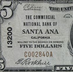 5 1929 National Currency Cnb Santa Ana Ca Type 1 Charter 13200 C002840a Five
