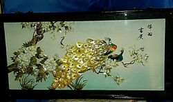 Vintage Chinese Mother Of Pearl Abalone Shell Art Shadow Box Signed. 4'x2' L@@k