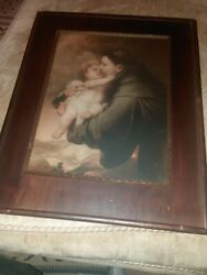 Antique Art Print Detail Of Murillo's Vision Of St. Anthony Of Padua