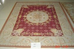 8and039x10and039beautiful Rose Floral Needlepoint Rug French Classic Swirls Hand Crafted