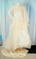 Hoops My Dear Vintage [orig] 1940 Ivory Floral Lace Wedding Dress With Veil