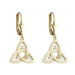Solvar 9k Yellow Gold Celtic Trinity Knot Drop Earrings s33544 - Made in Ireland