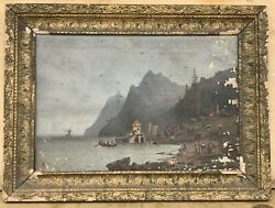 Early Whaling Stationhistorical Antique Paintingcanadashipwreck And Lighthouse