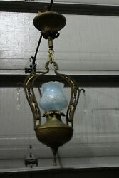 Art Deco Mission Ceiling Light Fixture Entry Hall Porch Pendant Hammered Copper