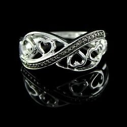 Round Natural Diamond Accent Wedding Band Ring 14k Solid White Gold