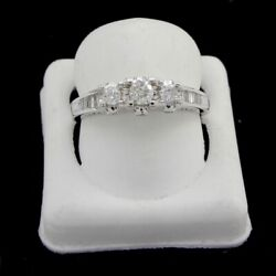 Estate 0.66 Ct Round And Baguette Diamond 14k White Gold Engagement Ring