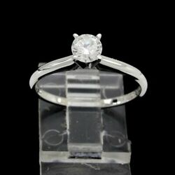 Estate 1/2 Ct Round Cut Diamond Solitaire Ring In 14k Solid White Gold Certified