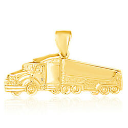 14k Yellow Gold Trailler Truck Pendant / Charm Made In Usa