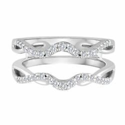 1/3 Ctw Round Natural Diamond Enhancer Solitaire Wrap Ring Guard 14k White Gold