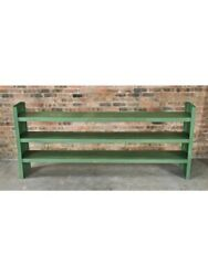 1950S INDUSTRIAL MASSIVE THREE-TIER STATIONARY FACTORY WORKSHOP SHELVING UNIT