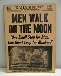 NY Daily News Men Walk on the Moon July 1969 Front Page Mounted Ready to Hang