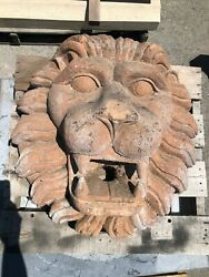 Massive Wall Fountain Mask - Very Old And Hand Carved Stone – Lion Mask