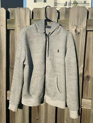Mens Polo Custom Fit Gray Zip Up Hoodie Jacket Size Large