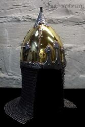 14ga Brass And Steel Medieval Etched Norman Black Grave Viking Helmet W Chainmail
