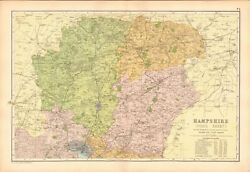 1906 Large Map-bacon - Hampshire North Winchester Basingstoke Andover