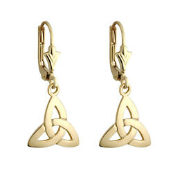 Solvar 9k Gold Irish Trinity Celtic Knot Drop Dangle Leverback Earrings s3660