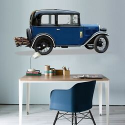 3d Blue Oldtimer G102 Car Wallpaper Mural Poster Transport Wall Stickers Wendy