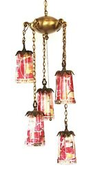 Antique Glam Hollywood Hills Brass And Glass Pendant Hanging Swag Chandelier