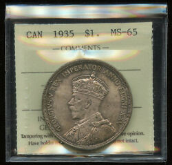1935 Canada 1 Silver Dollar Iccs Ms-65 Cert Xqe267