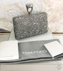 New $4390 Tom Ford Micro Crystal Glass Ring Top Minaudière Clutch Blag