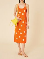 Nwt Mansur Gavriel Daisy Embroidered Knit Slip Dress S Italy Linen Sold Out 995